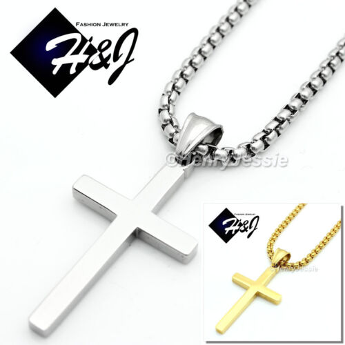 "18-36""MEN Stainless Steel 3mm Silver Smooth Box Chain Necklace Cross Pendant*SP"