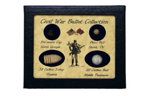 Original Civil War Bullets Relics in Matted Display Case (4 Piece) with COA