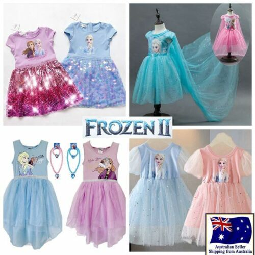 Clearance Girl Frozen Princess Elsa Party Birthday Dress Costume 3-12Y No Crown