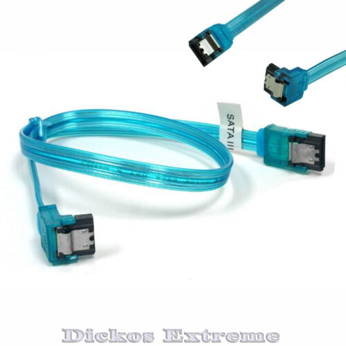 """SATA 3 III 3.0 DATA HDD SSD Cable 46CM/18"""" - UV Blue with one end 90°"""