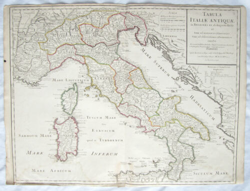 GUILLAUME DELISLE. Tabula Italiae Antiquae HAND COLORED MAP Italy Sardinia 1715