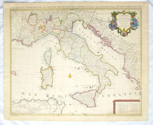 GUILLAUME DELISLE L'Italie Dressee Sur Les.. HAND COLORED MAP Italy Sicily C1735