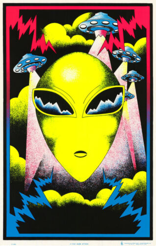 THE SCREAM BLACKLIGHT LOT OF 2 POSTERS ART FREE SHIPPING   #BL7 RW15 P