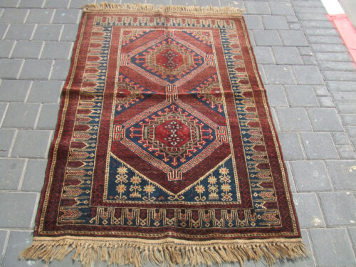 ANTIQUE BALUCH WOOL RUG HAND WOVEN 137x92-cm / 53.9x36.2-inches