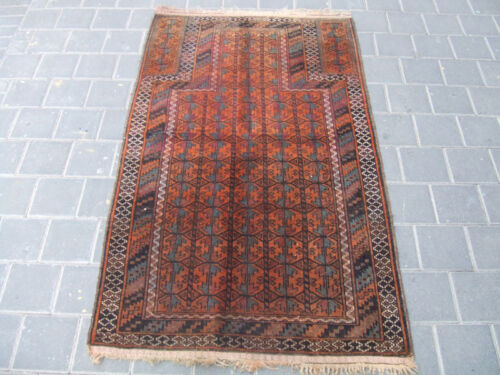 ANTIQUE BALUCH WOOL RUG CARPET HAND WOVEN  140x82-cm / 55.1x32.2-inches