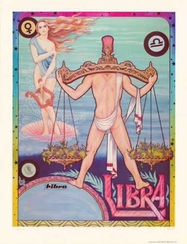 POSTER: ZODIAC - LIBRA by FERET - SIGNED & NUMBERED - FREE SHIP #12-494  LC16 i
