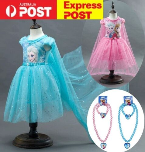 Girls Frozen Elsa Costume Party Birthday Dress With Detachable Cape size 2-10Y <br/> Fast delivery, post from Sydney, premium quality