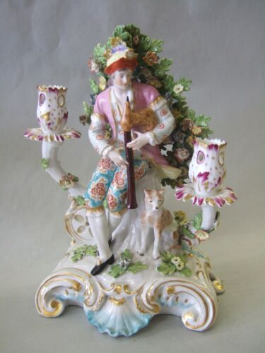 Antique Chelsea-Derby big candelabra , english porcelain, 18thc