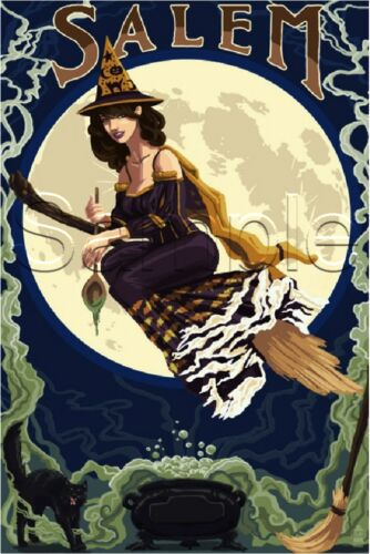 VINTAGE PRETTY WITCH FLYING MOON SALEM WICCA COULDRON HALLOWEEN CANVAS ART