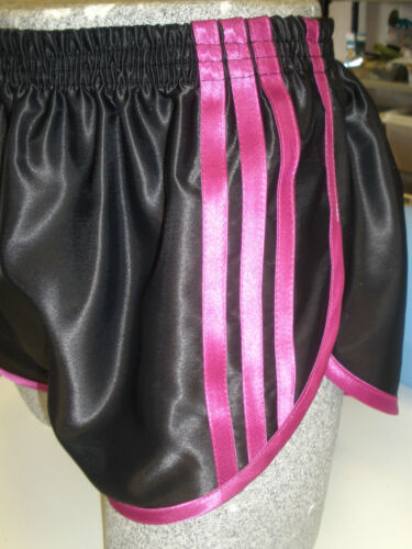 Retro Nylon Satin Sprinter Shorts S to 4XL, Black - Magenta