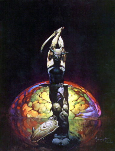 "FRANK FRAZETTA Fantasy Art Prints Canvas Textured Finish ""The Brain"" 3.4"