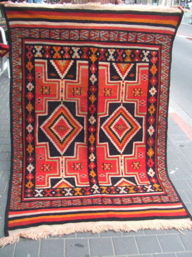ORIGINAL ANTIQUE MOROCCAN WOOL KILIM RUG HAND MADE 200x132-cm / 78.7x51.9-inches