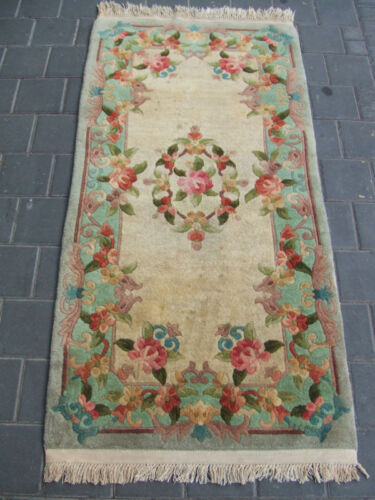 Beautiful hand-woven art deco Chinese Antiques Carpet rug 140x68-cm/55.1x26.7-in
