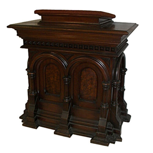American Gothic Revival 19th C. Walnut pedestal/Podium with Burl Veneer #7243