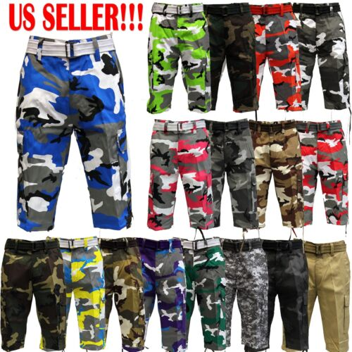 Mens CAMOUFLAGE CAMO ARMY SHORTS SOLID Cargo Shorts With Belt Cotton Twill