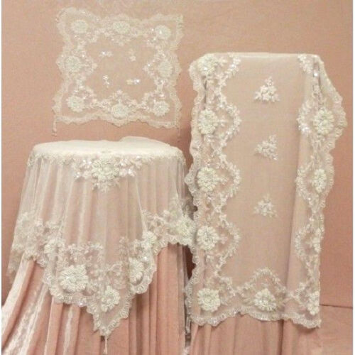 Stunning Elegant Cream Ivory Lace Sequin & Embroidered Table Runner - 90cm -7307