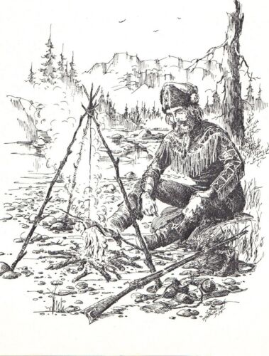 Western Mountain Man Campsite Cooking Black Ink Drawing Art Work Print Signed