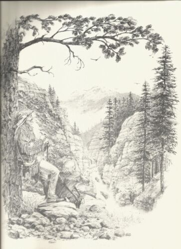 """Mountain Man Wilderness Charcoal Drawing Art Work Print 12""""x 9"""" Signed RARE"""