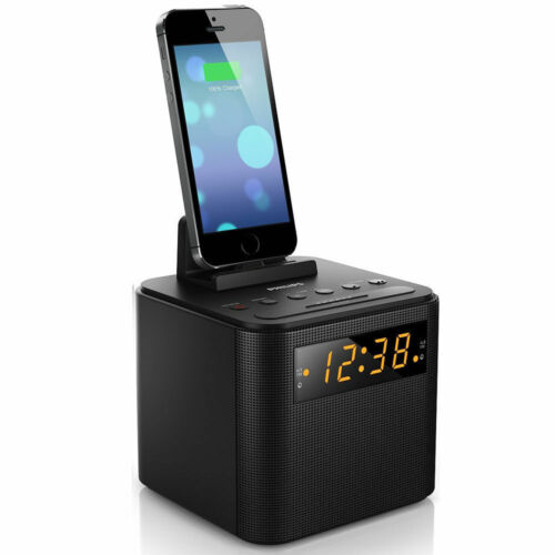 Philips AJ3200 FM Clock Radio USB Charger Docking Station for Micro/iOS/Samsung