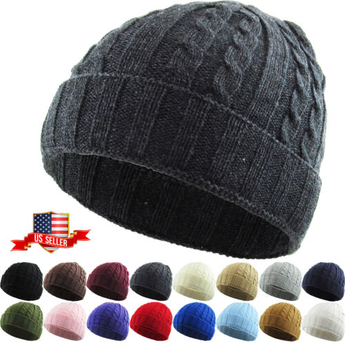 Cable Knit Winter Warm Crochet Hat Braided Baggy Beret Cuff Fold Beanie Cap