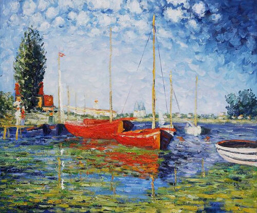 """Red Boats At Argenteuil by Claude Monet, Hand Painted Reproduction, 26"""" x 22"""""""