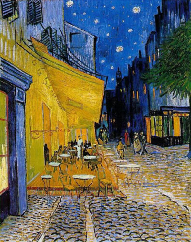 """Cafe Terrace At Night by Van Gogh, Hand Painted Painting Reproduction, 28"""" x 36"""""""