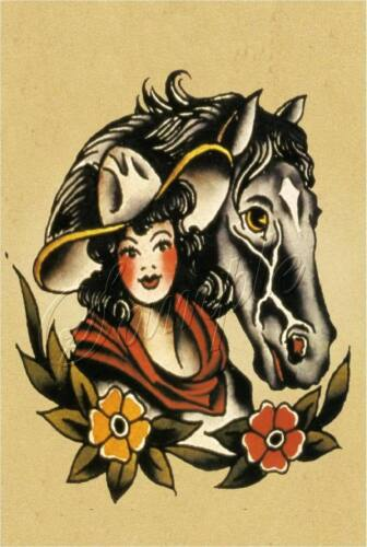 CANVAS ART TATTOO COWGIRL PINUP GIRL HORSE WESTERN OLD SCHOOL VINTAGE PRINT BIG