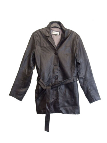 OUTER EDGE LADIES REAL LEATHER BLACK JACKET SIZE UK 12  (D-112)
