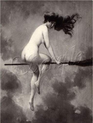 WITCHCRAFT NUDE WITCH FLYING BROOM SABBATH WICCA VINTAGE CANVAS ART PRINT LARGE
