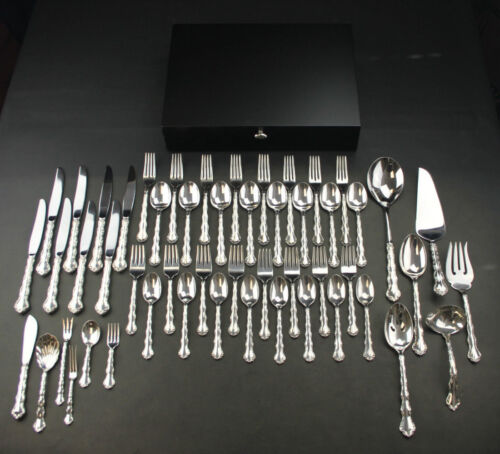 "REED & BARTON ""TARA""  STERLING SILVER SET FOR 8,12 SERVERS , 52 PCS TOTAL!!!"