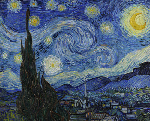 """The Starry Night by Van Gogh, Hand Painted Oil Painting Reproduction, 26"""" x 22"""""""