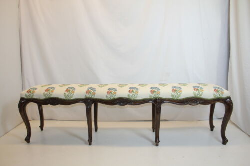 X Long French Louis XV  Walnut Window Bedroom Hall Bench,circa 19th, A Must See!