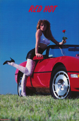 POSTER : RED HOT - SEXY FEMALE MODEL WITH 86 CORVETTE -  FREE SHIPPING   RC20 P