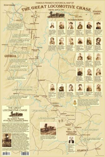 Great Locomotive Chase. The General. Georgia Railroad. Civil War Historical MapOther Civil War-Related Items - 158427