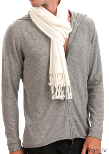 BRAND NEW MEN'S WHITE SCARF WRAP 100% CASHMERE VERY SOFT MADE IN SCOTLAND S#5