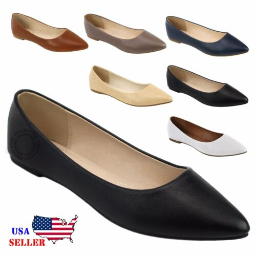 New Womens Leather Lined Pointy Toe Ballet Flat Shoes Loafers Comfort Formal