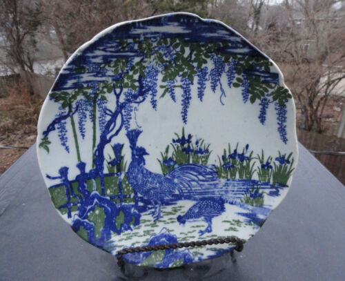 Antique Nabeshima Ware Japanese Plate -  Blue & Green Wisteria - Rooster Japan