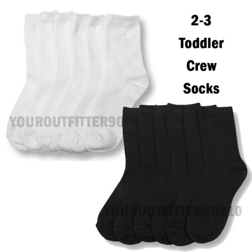 3 6 12 Pair Baby Toddler 2-3 Crew High Casual Socks Black White boys girls Kid's
