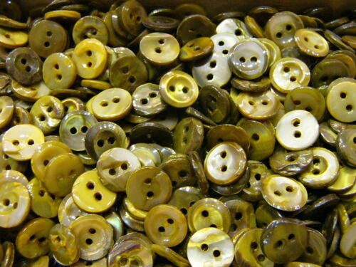 Antique Vintage Green Pearl/Shell Buttons with 2 Holes - Great for Crafts!