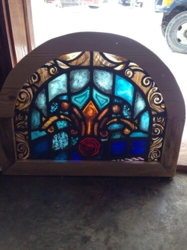 Sg 113 Small Antique Painted In Fired Arch Stainglass Window