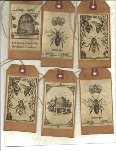 12 PRIMITIVE TAGS~Bee Happy!~HANG TAGS~folk~Grungy
