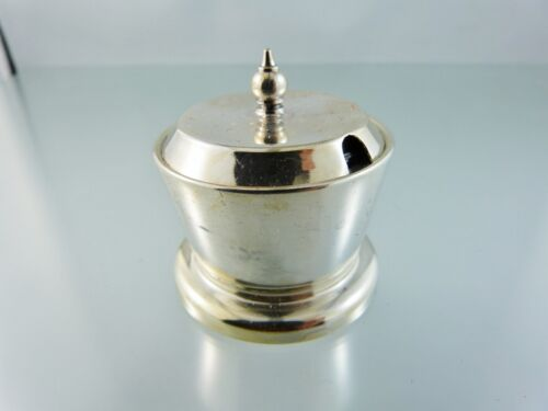 PLAIN MUSTARD POT with LID & COBALT GLASS LINER BY APEX ENGLAND