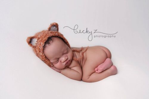 Fantastic Fluffy Fox Bonnet hat Baby shower Photography Photo prop 0-6 month