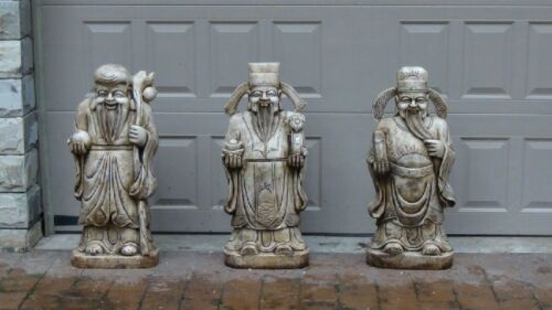 3 ANTIQUE19C CHINESE LARGE JADE CARVED STATUES PROSPERITY,LONGEVITY HAPPINESS