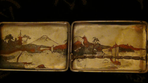 "ANTIQUE 19C JAPANESE STERLING SILVER CIGARETTE CASE""LANDSCAPING WITH HARBOR FUJI"
