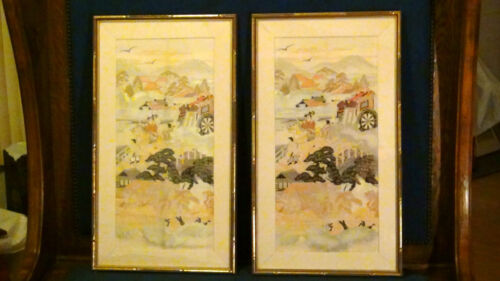 PAIR ANTIQUE JAPANESE SILVER AND GOLD EMBROIDERY FRAMED WITH GLASS
