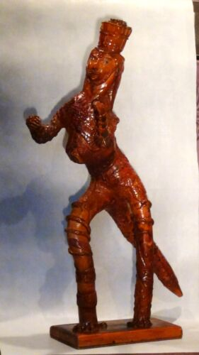 ANTIQUE 19C ASIAN VERY UNIQUE ROOT CARVED STATUE OF LIZARD KING W/SNAKES ALLOVER