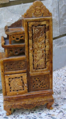 ANTIQUE CHINESE HARD STONE CARVED MINIATURE SNUFF BOTTLE CABINET,CHEST.,RARE