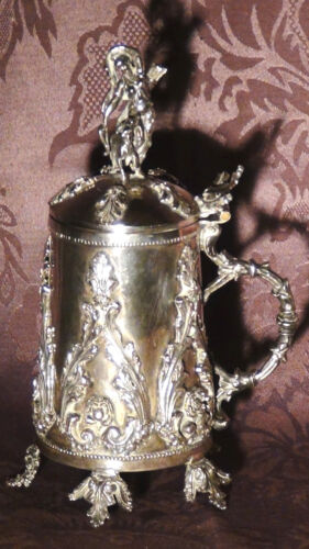 ANTIQUE RUSSIAN IMPERIAL 84 SILVER TANKARD WITH ORNAMENTAL LID FULLY HALLMARKED