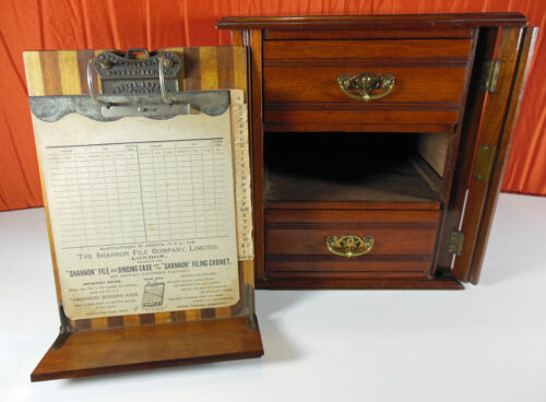 Rare Antique Shannon Filing Co 3 Drawer Wood Cabinet Pat. Feb. 10 1885 Complete.